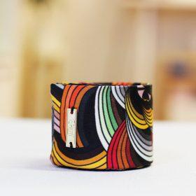 Bracelet manchette en twill de soie - Collection Kaki<br /> (plusieurs motifs)