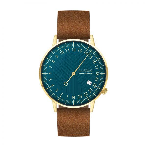 Montre sur fond blanc qui a un cadran de couleur bleu canard et un bracelet en cuir marron