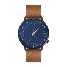 Montre 24H <br /> bleue - cuir marron