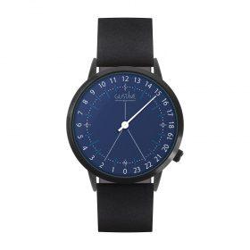 Montre 24H <br /> bleue - cuir noir
