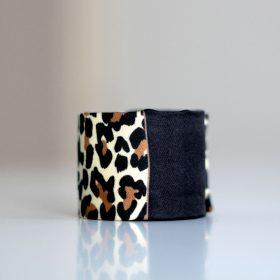 Bracelet manchette en twill de soie - Collection Léopard<br /> (plusieurs motifs)