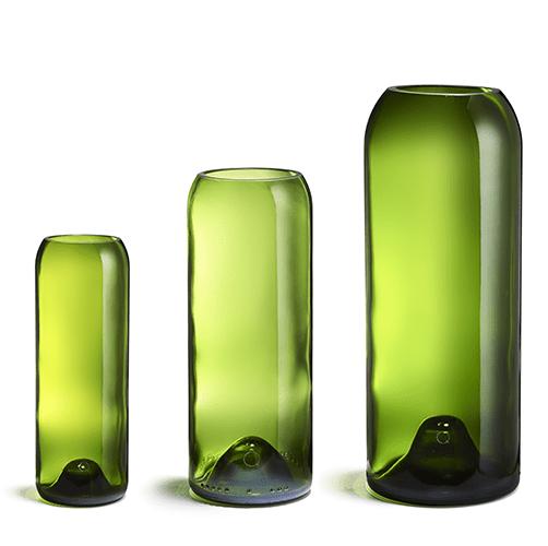 3 vases de taille différentes en q de bouteille transparent vert pour le petit je ne sais quoi